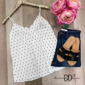 Polka Dot Cami Top with Scallop Detail