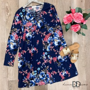 Floral  V Neck Long Sleeve A Line Dress