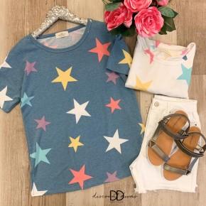 Short Sleeve Star Print Top