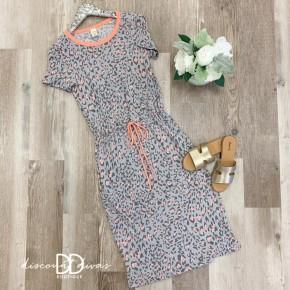 Animal Print Drawstring Dress