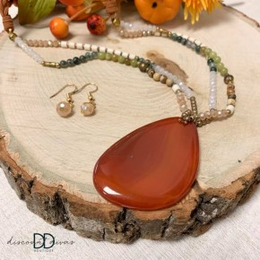 Stone Necklace with Braided Chain