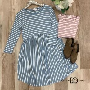 3/4 Sleeve Stripe Babydoll Dress