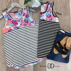 Floral and Stripe Print Sleeveless Top