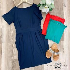 Short Sleeve Dress With Tie Belt