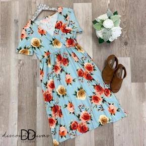 Short Sleeve Floral Print V-Neck Dress