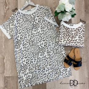 Short Sleeve Leopard Print Dress