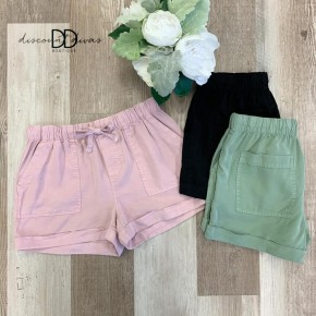 Drawstring Shorts With Front and Back Pockets