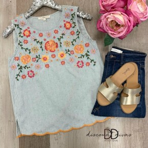 Sleeveless Striped Top With Floral Print Detail