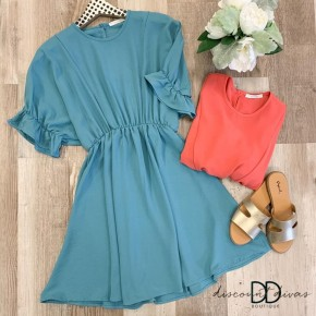 Solid Short Dress with Ruffle Short Sleeve