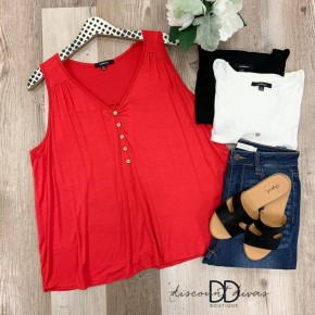 V-Neck Tank Top With Button Detail
