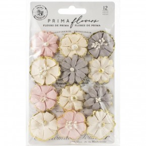 Prima Mulberry Paper Flowers-12 pcs