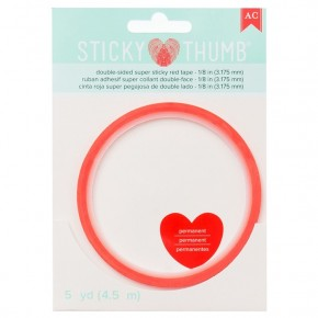 Sticky Thumb Double sided Super Sticky Red Tape 1/8 in