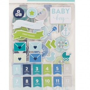 Project Life Baby Boy Chipboard Stickers