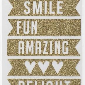 Gold Glitter Banner Stickers