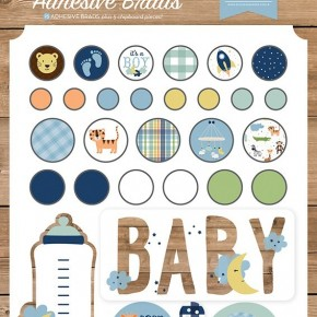 Baby Boy Decorative Brads and Chipboard
