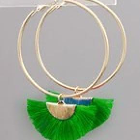 Fan Tassel Dangle Hoops - Green