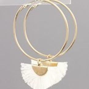 Fan Tassel Dangle Hoops - White