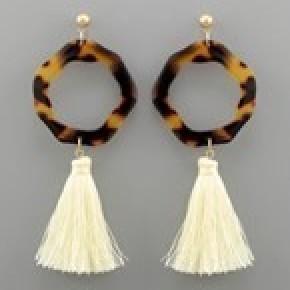 Acrylic Ring and Tassel Earrings - Tortoise