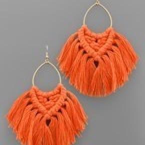 Tied Tassel Teardrop Earrings - Orange