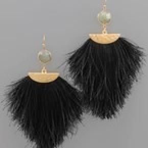 Stone and Tassel Earrings - Black