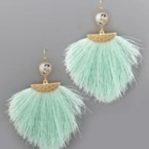 Stone and Tassel Earrings - Mint