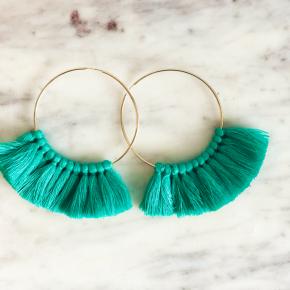 Love, poppy Tassel Hoops - Turquoise