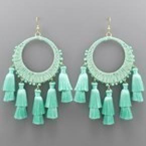 Circle Raffia and Tassel Earrings - Mint
