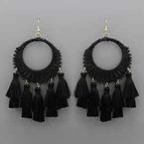 Circle Raffia and Tassel Earrings - Black