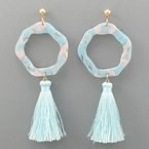Acrylic Ring and Tassel Earrings - Light Blue