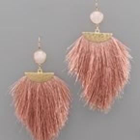 Stone and Tassel Earrings - Dusty Pink