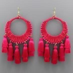 Circle Raffia and Tassel Earrings - Fuchsia