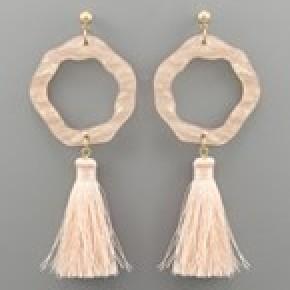 Acrylic Ring and Tassel Earrings - Light Peach