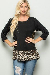 BLACK / LEOPARD INSET TUNIC -ADORABLE
