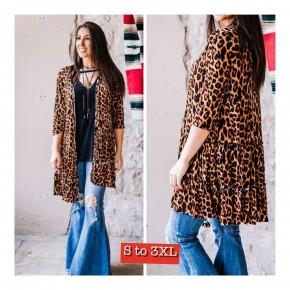 Leopard Ruffle 2 Tier  Ruffles Kimono