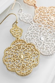 Mexican Lace Cut  Dangle Earrings Silver or Gold