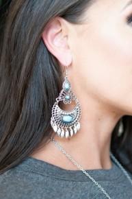 Silver Turquoise fringe Earrings