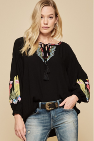 Andree By Unit Black Crepe CACTUS Embroidered Tie front Tunic