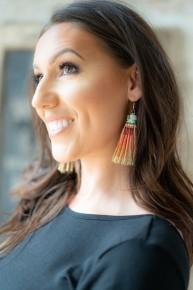Serape  Printed Fringe  Tassel Earrings
