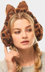 Kitten Earmuffs  in Black,  Pink & Cheetah - Super Chic