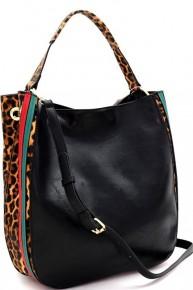 Gena Stripe Leopard  Hobo Bag  Black, Dark Coffee, Carmel