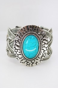 Faux Turquoise Cuff Bracelet - Nice