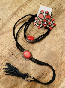 Red Stone Earrings and  2 Red Stone Choker on Leather - Super