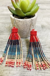 Red Serape Dangle Earrings