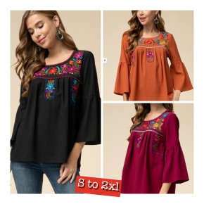 Black Mexican Flair Embroidered Tunic -  Awesome