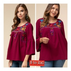 Sangria MexicanFlair Embroidered Tunic