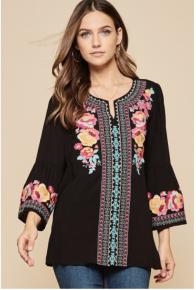 ANDREE  BLACK Embroidered Flair Sleeve Tunic