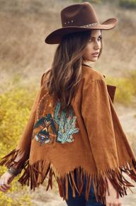 Camel Embroider Cactus Jacket