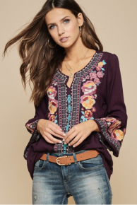 PLUM Embroidered  Flair Sleeve Tunic - The BEST !