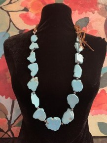 """Faux Turquoise Howlite slabs stones w/ Leather  30""""L"""