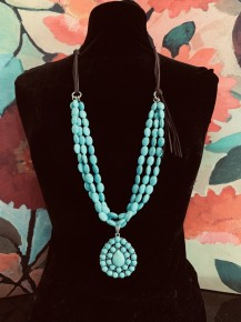 Turquoise Teardrop &  Beads on Suede